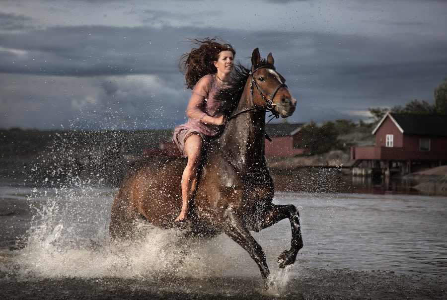 Happy by Geir Andersen - Sports & Fitness Other Sports ( hvaler, water, ride, horses, østfold, asmaloy, ostfold, norway, fredrikstad, action hvaler, woman, asmaløy, skibstad sand, norge )