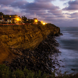 Sunset Cliffside by Greg Head - Novices Only Landscapes ( clouds, water, ocean, brake light blur, landscape, dusk, high tide,  )