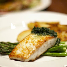 Roasted Halibut with Garlic Sauce