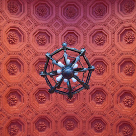 Costa Rican Ceiling by Mike O'Connor - Abstract Patterns ( lights, red, pattern, ceiling, costa rica, hexagons, chandolier )