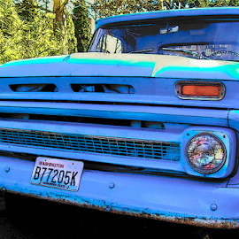 OLD BLUE by William Thielen - Transportation Automobiles ( work, urban, chevrolet, truck, blue, seattle, spring )