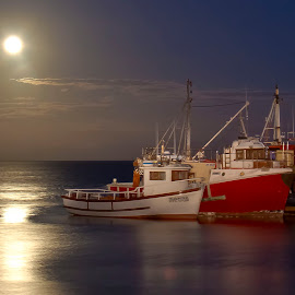 Moonlight Harbour by Adéle van Schalkwyk - Transportation Boats ( reflection, moon, harbour, boats, sea )