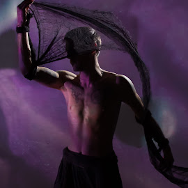 Untitled by Ian Craig - People Body Parts ( purple, ribbon, cirque, portrait, man )