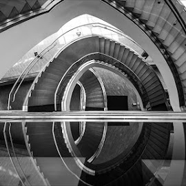 by Chad Liddell - Abstract Fine Art ( reflection, stairs, black and white,  )