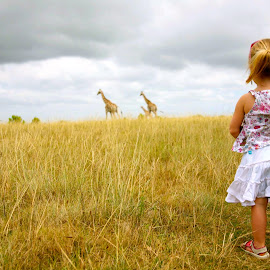 Watching Giraffes in South Africa by Tyrell Heaton - Babies & Children Children Candids ( giraffe, daughter, plains, africa,  )