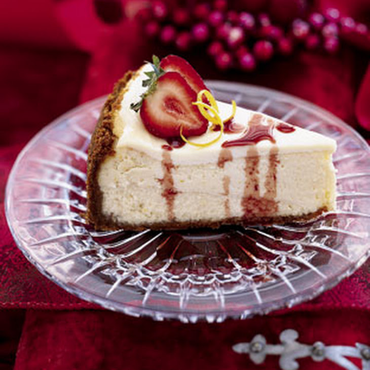 Lemon Cheesecake with Strawberries and Port Glaze Recipe | Yummly