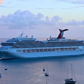 Sunset Cruise  by Adlah Donastorg - Transportation Boats ( cruiseship, harbor, sunset, beautiful, charlotte amalie, virgin islands )