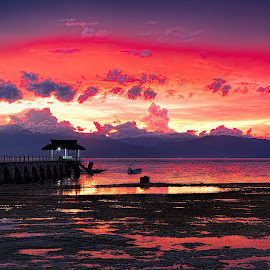 Sunset at Kasai Village by Henry Jager - Landscapes Sunsets & Sunrises ( clouds, hills, reflection, beautiful, romantic, sea, ocean, travel, beach, jetty, love, red, moalboal, sunset, kasai village, light, evening, philippines )