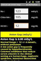 Screenshot of Clinical Lab ( Anion Gap )