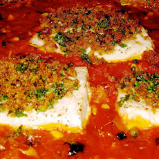 Swordfish Baked in Tomato Sauce with Crunchy Breadcrumbs
