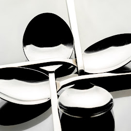 Quattro by Dimitris Stenidis - Novices Only Objects & Still Life ( studio, macro, spoons, white, strobe lights, black, kitchen utensil, silverware, cutlery )