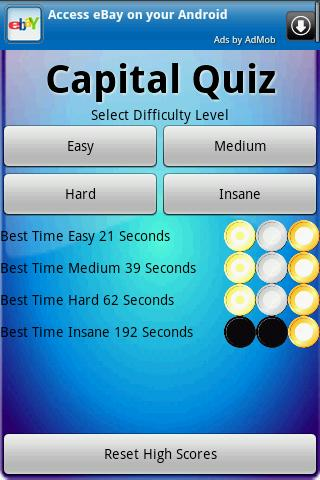 Capital City Speed Quiz