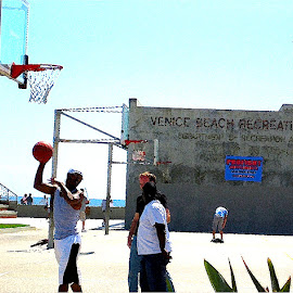 Venice Beach Recreation by Ronnie Caplan - Sports & Fitness Basketball ( basketball, sky, facade, players, court, hoop, beach )