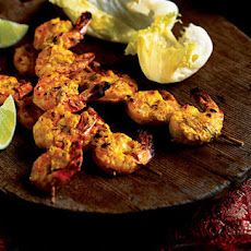 Achari theenga, pickled spiced BBQ prawns