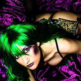 Desire by Xstatic Media - Nudes & Boudoir Boudoir ( stockings, purple makeup, sexy, lingerie, purple, boudoir, green, green hair, green makup, fetish, suspenders, green & purple )
