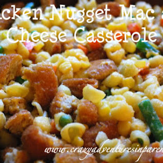 Chicken Nugget Macaroni and Cheese Casserole