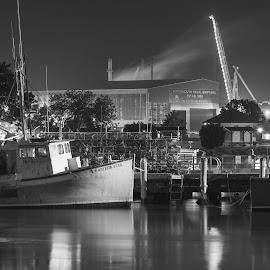 fisherman boat by Michael Otero - Transportation Boats ( reflection, polarizer, long shutter, bw, reflections, moonlight, smoke, motion blur, singh ray, nikond4, nikondf, night photography, lunar, full moon, nikon, blackandhwhite )