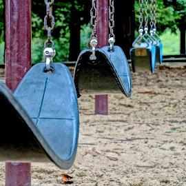 Empty Swings by Barbara Brock - City,  Street & Park  City Parks ( children swings, toys, park swings, playgrounds, empty swing set )