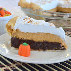 Pumpkin Cheesecake Brownie Pie