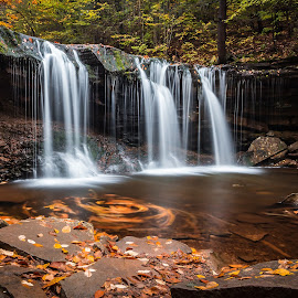 Oneida Falls by Michael Sharp - Landscapes Waterscapes ( luzerne county, pa, fall foliage, waterfall, pennsylvania, oneida falls 13', united states, ricketts glen state park )