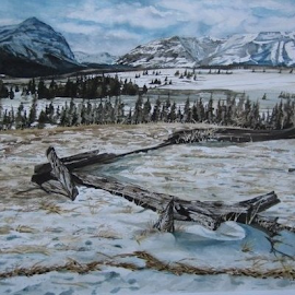 Ya ha tinda ranch,rocky mountains,Alberta by Michael Munday - Painting All Painting ( landscape, watercolour, painting )