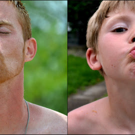 Like father; like son  by Janille Whitaker - People Portraits of Men ( kiss, funny, son, fun, beach, father, Selfie, self shot, portrait, self portrait )