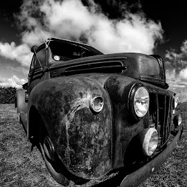 ole chevvy by John Richards - Transportation Automobiles ( clouds, old, chevvy, car show, rust )