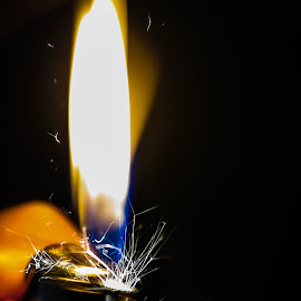 I've Got The Fire by Criss Lalix - Abstract Fire & Fireworks ( macro photography, sparks, lighter, black, fire, flame,  )