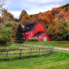 Autumn Almanac by Kim Thomas-Hein - Landscapes Prairies, Meadows & Fields ( farm, field, fence, barn, foliage, landscape )