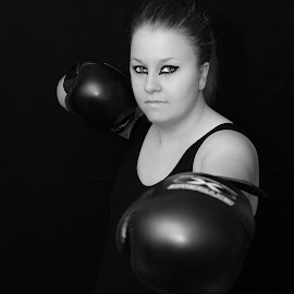 Fighter in the making by Janette Anderson - Sports & Fitness Boxing ( kick boxing, black and white boxer, female boxer, boxing gloves, boxer, muay thai, boxing,  )