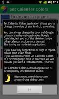 Screenshot of Set Calendar Colors