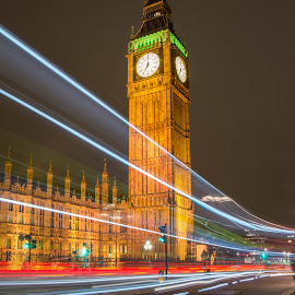 Houses of Parliament by Chris Racklyeft - Buildings & Architecture Other Exteriors ( london, car trails, night, long exposure, big ben, houses of parliament )