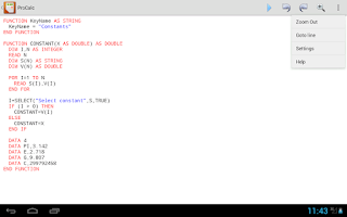 Screenshot of ProCalc with BASIC Interpreter