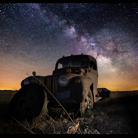 Abandoned  by Aaron Groen - Transportation Automobiles ( truck, stars, milky way, abandoned )