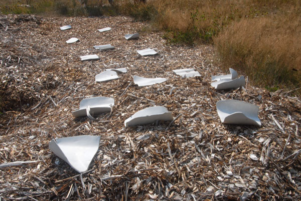 Field of Waves <br> outdoor installation <br> Glazed stoneware, high fired <br> Variable dimensions