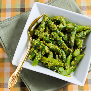 Barely-Cooked Asparagus with Basil Pesto