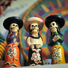 Dead Trio Statues by Kevin Pastores - Artistic Objects Other Objects ( skulls, statue, figurines, newmexico, mexican, colors, albuquerque, southwest, three, trio, dead, muerto )