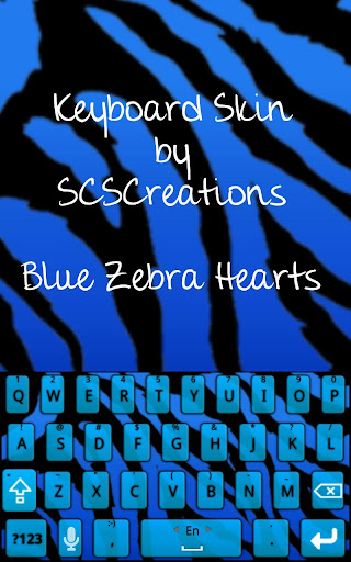 KB SKIN - Blue Zebra Hearts