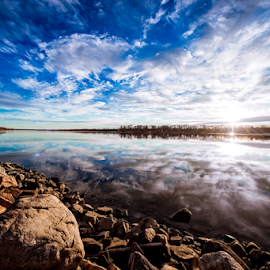 by Bob Grandpre - Landscapes Cloud Formations ( cloud formations, shore, clouds, water, reflection, bay, blue, sunset, rocks, oahe )