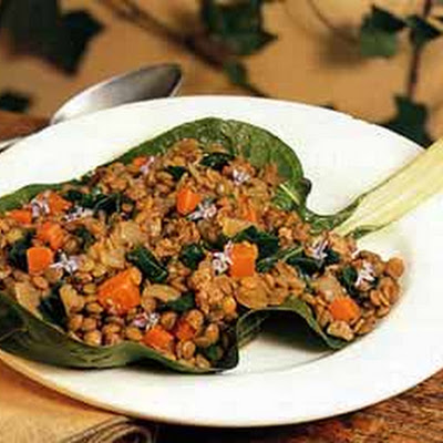 Lentils with Sausage and Swiss Chard
