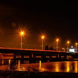 Night Bridge by Bojan Bilas - City,  Street & Park  Night ( croatia, night, zagreb, bridge, river )