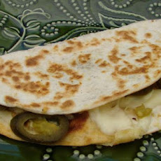 Quick Snack Cheese and Jalapeno Quesadilla