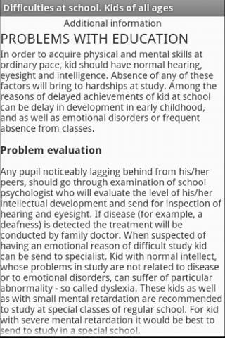 Difficulties in school