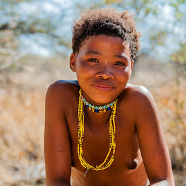 Young San Lady by Johan Jooste Snr - Nudes & Boudoir Artistic Nude ( child, san, native, female, traditional, bushman, namibia )