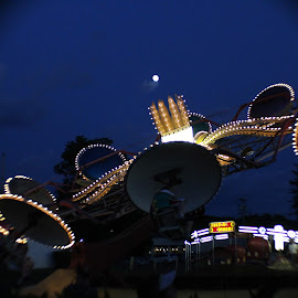 by Megan Gallup - City,  Street & Park  Amusement Parks ( lights, moon, rides, fun, colorful, mood factory, vibrant, happiness, January, moods, emotions, inspiration,  )