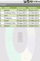 Screenshot of Liturgical Calendar