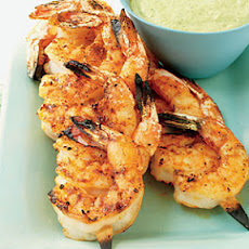 Juicy Shrimp with Roasted Chile and Avocado Sauce