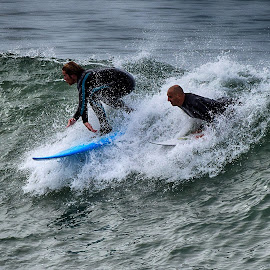 Two HB Surfers by Jose Matutina - Sports & Fitness Surfing ( surfing, surfer, orange county, california, sea, sport, ocean, huntington beach,  )