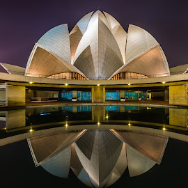 The Bahai Temple by Akhil Kabu - Buildings & Architecture Places of Worship ( lotus temple, night, bahai, delhi )