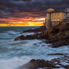 Sunset at Boccale Castle LE by Alessandro Genero - Landscapes Waterscapes ( #sea #sunset #le #landscapes #clouds,  )